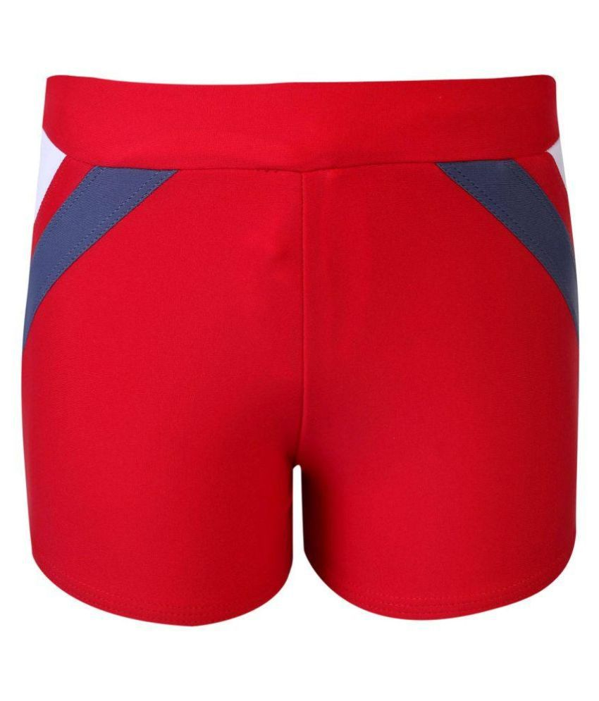 Bosky Red Polyster Swimming Active Wear/ Swimming Costume