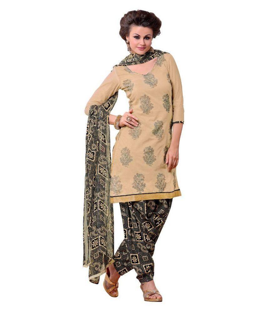 Stella Creation Brown Chanderi Straight Unstitched Dress Material