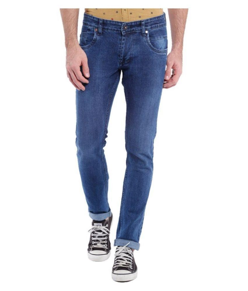 UK Blue Blue Slim Fit Washed Jeans