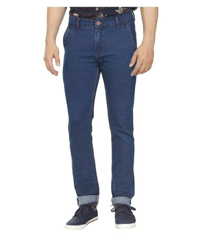 UK Blue Blue Slim Fit Washed Jeans