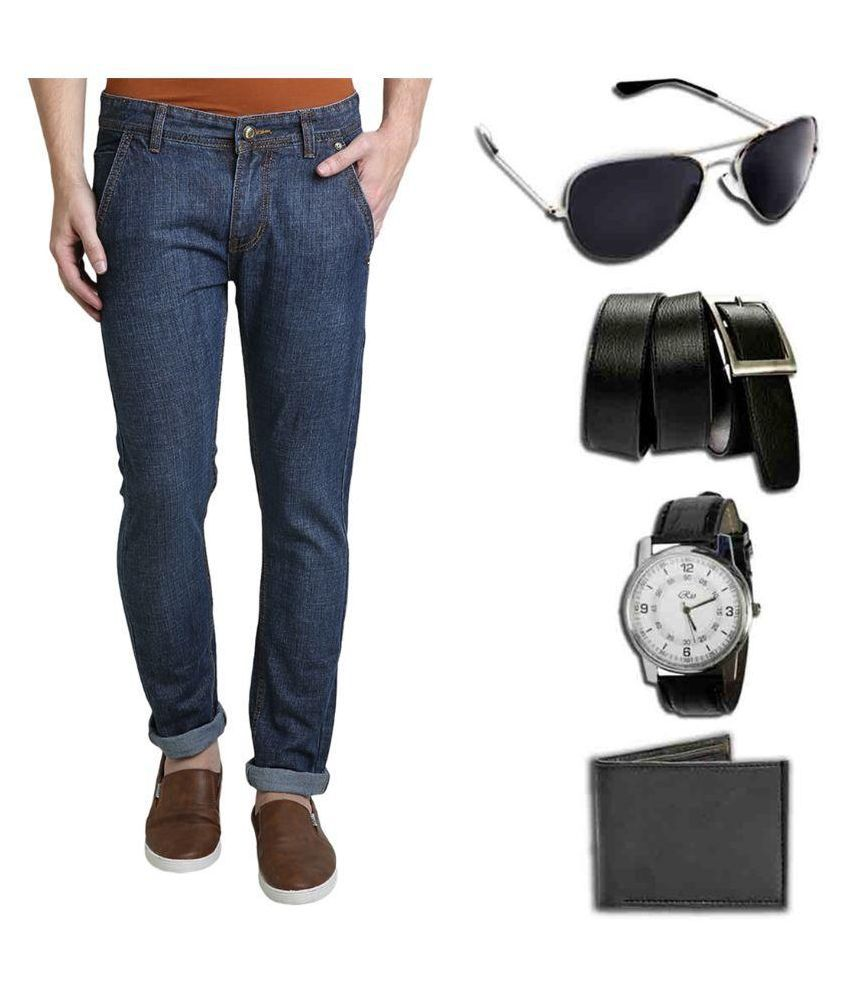 Denim Cafe Blue Slim Fit Solid Jeans with Watch,Sunglasses,Wallet & Belt