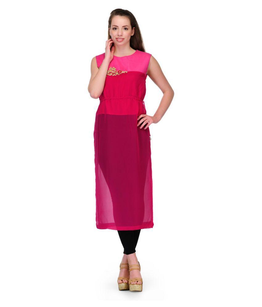FashionWalk Pink Faux Organza Straight Kurti