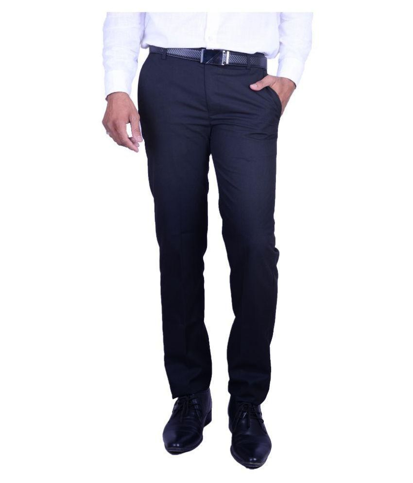 Machu Black Regular Fit Flat Trousers