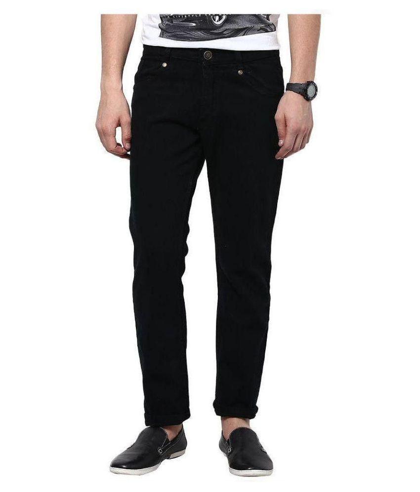 Fashion Deck Black Slim Fit Solid Jeans