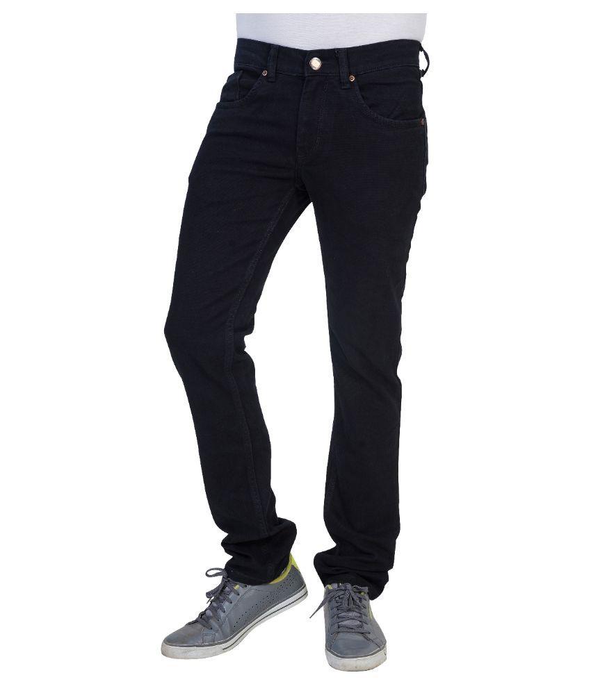 Thames Black Regular Fit Solid Jeans