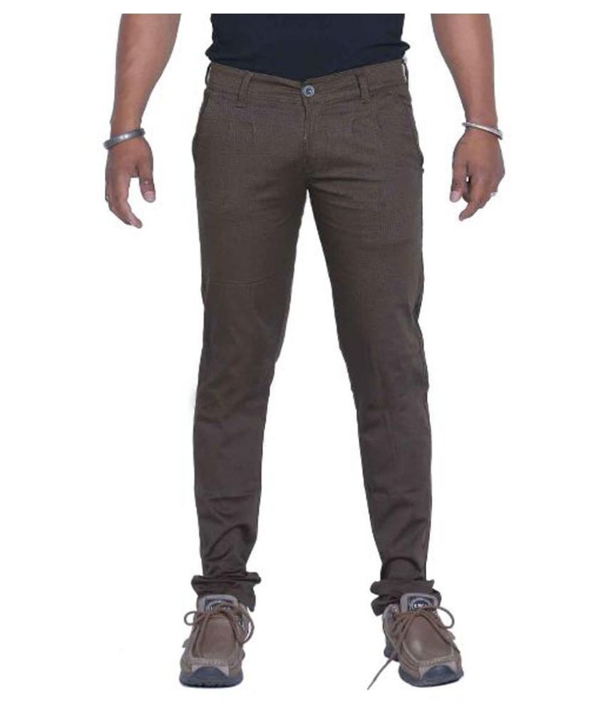 Bows & Arrows Brown Regular Fit Solid Jeans