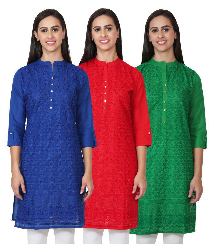 Numbrave Multicoloured Cotton Straight Kurti