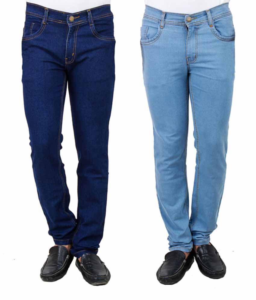Stylox Blue Slim Fit Solid Jeans Pack of 2