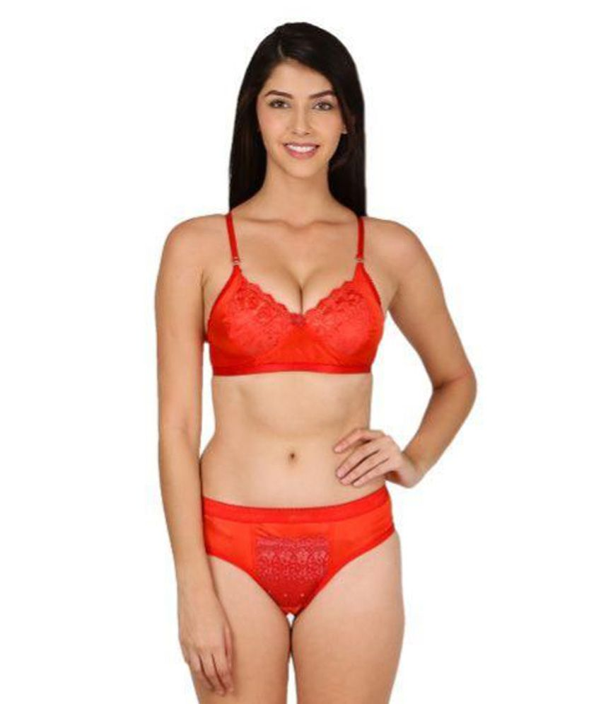 Buy Theoowls Red Satin Bra & Panty Sets line at Best Prices in