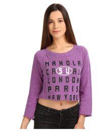 Manola Purple Viscose Crop Tops
