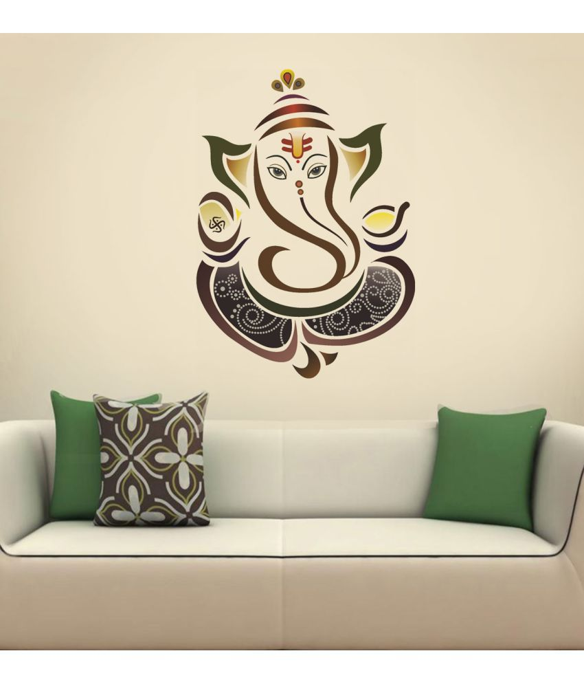 Compare Price To Wall Painting Kit: NewWayDecals Lord Ganesha PVC Wall Stickers (50 X 70 Cms