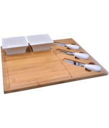 Qubic Inc Wooden Serving Tray With Set Of 2 Bowls,a Knife,fork And Serving Spoon