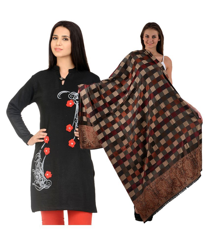 Candy House Black Woollen Straight Kurti with Shawl