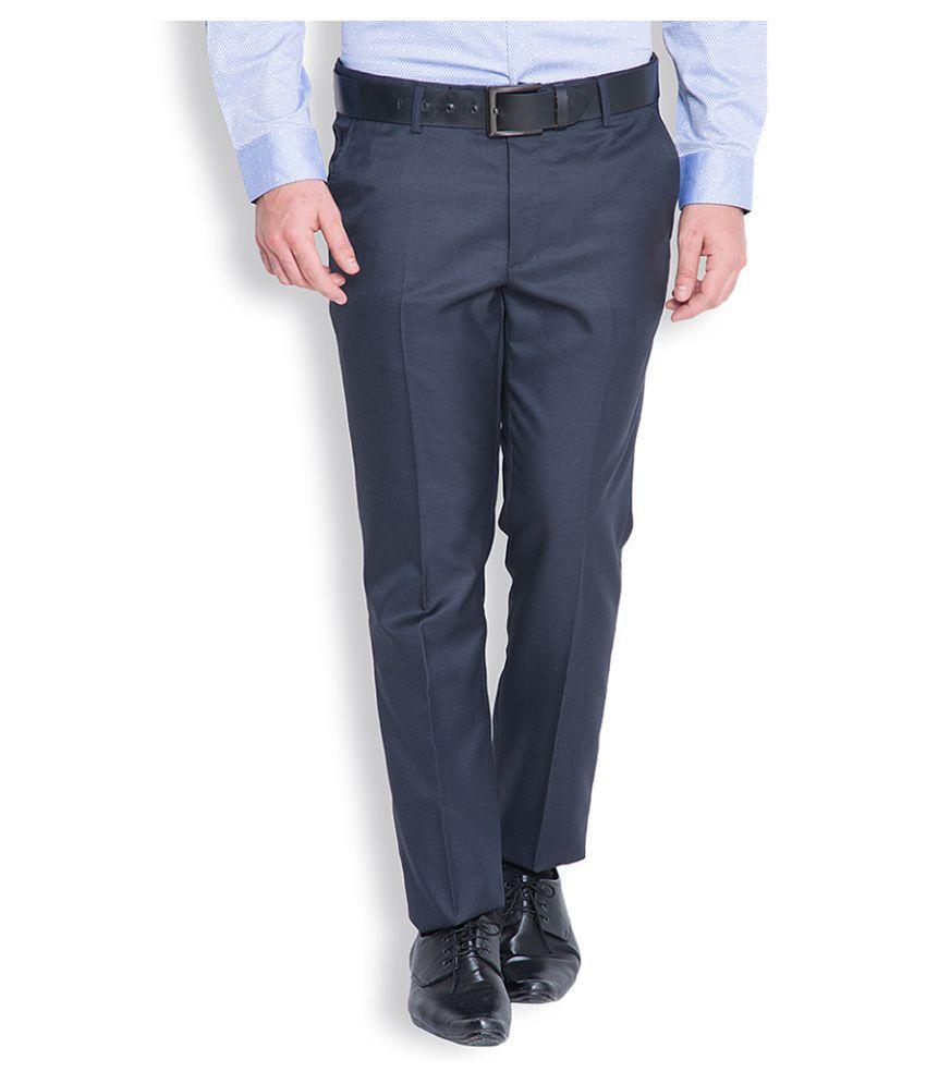 Black Coffee Dark Blue Tapered Flat Trouser