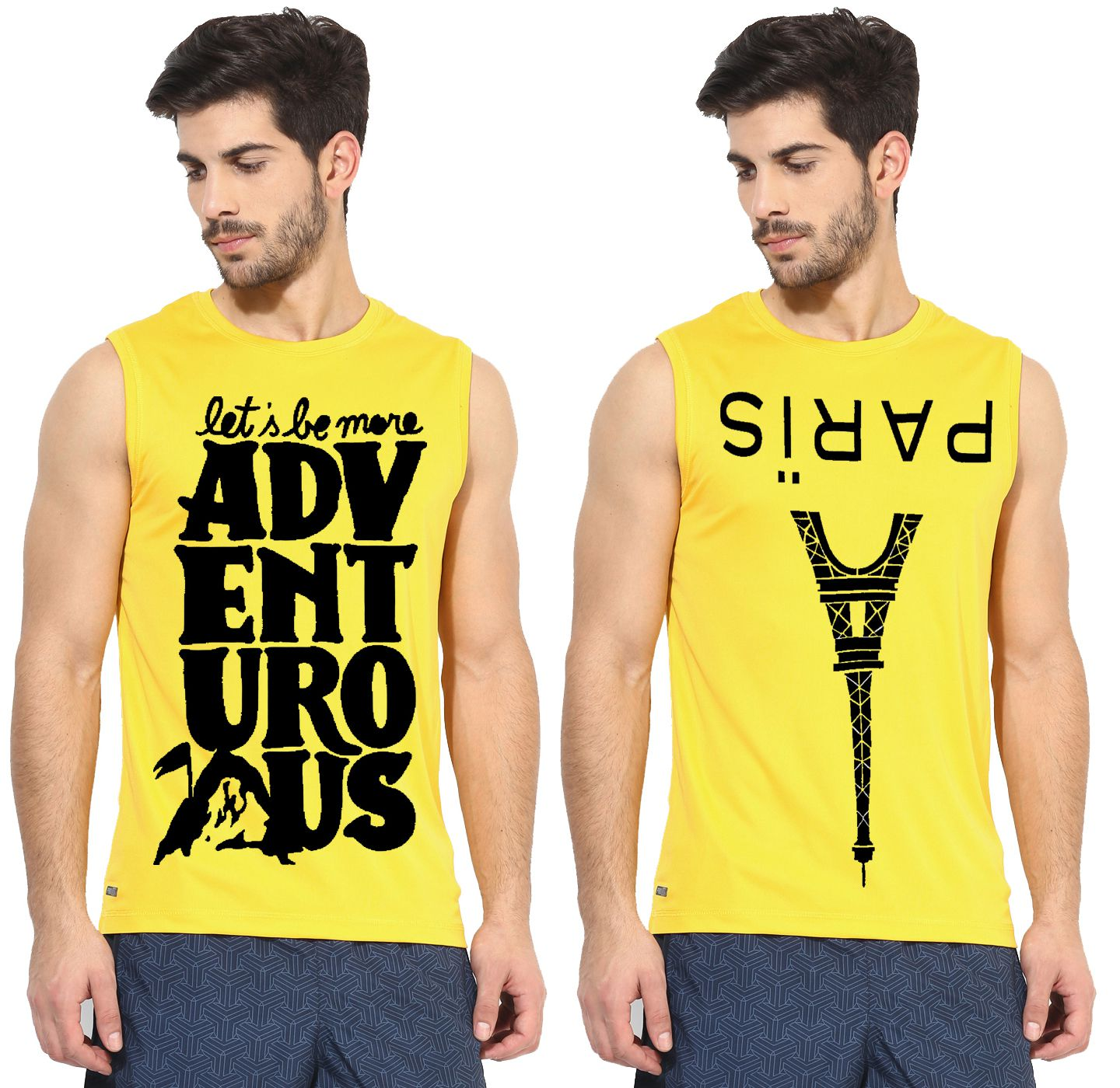 Ax7 Yellow Polyester T-Shirt Pack of 2