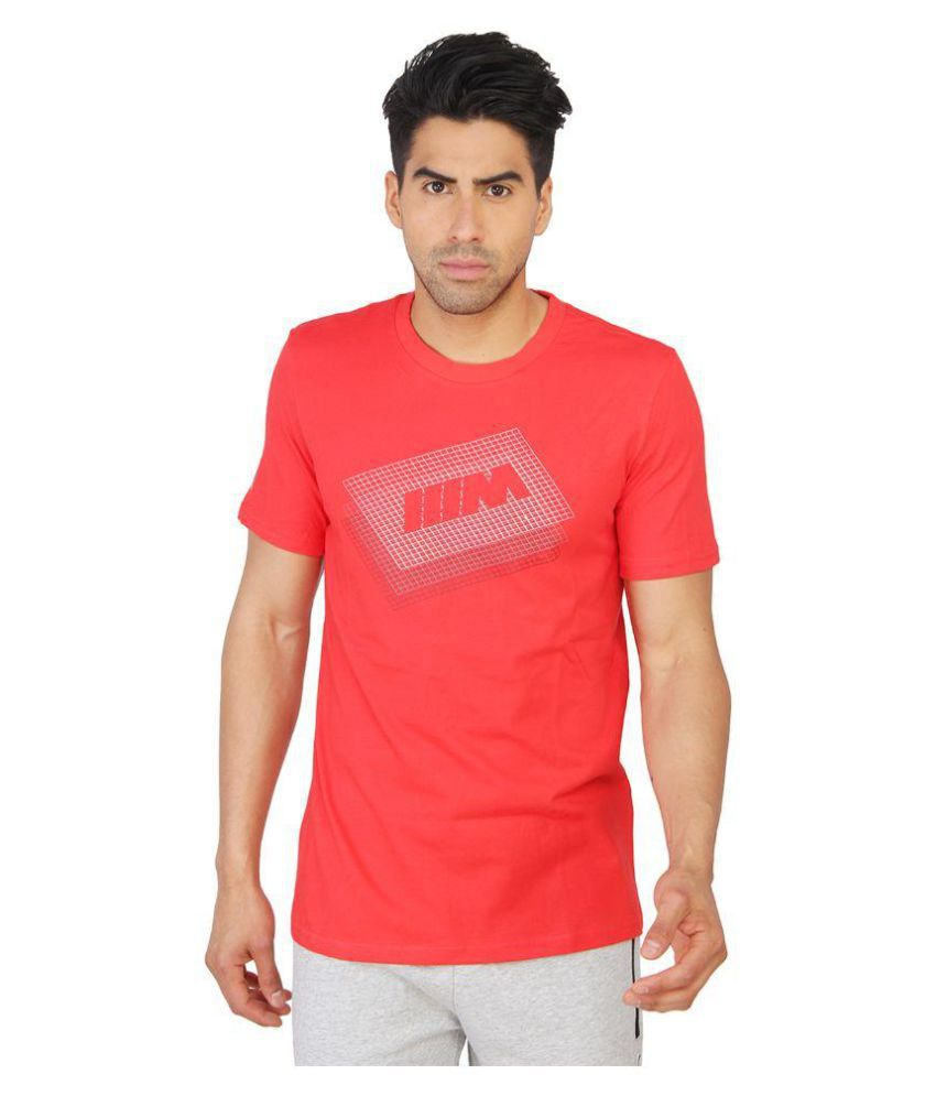 Puma Mens Red Printed T-shirt