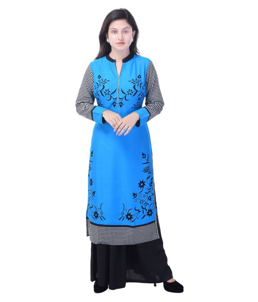 Shopping World Blue Rayon Straight Stitched Suit