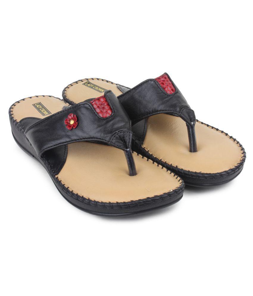 LADY CROWN Black Wedges Heels