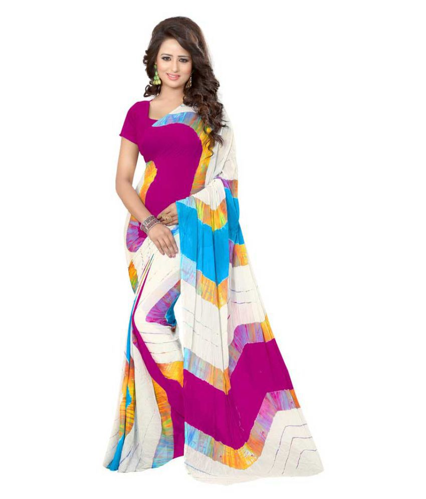 Pramukh Suppliers Multicoloured Georgette Saree
