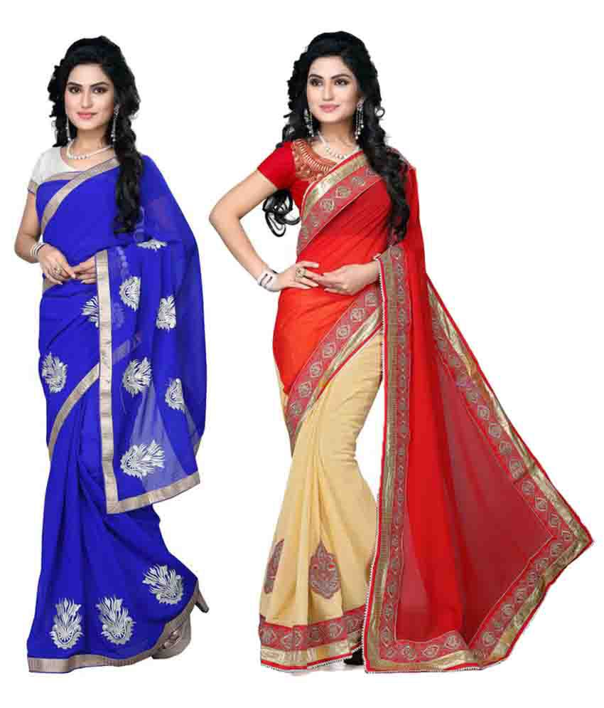 TheMorris Multicoloured Chiffon Saree Combos