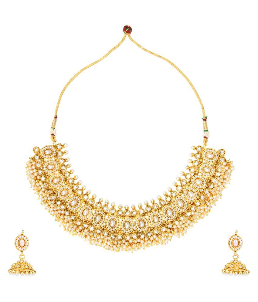 ADIVA Ethnic and Traditional Indian Artisan Jewelry Set Pretty Necklace set with Maang Tikka