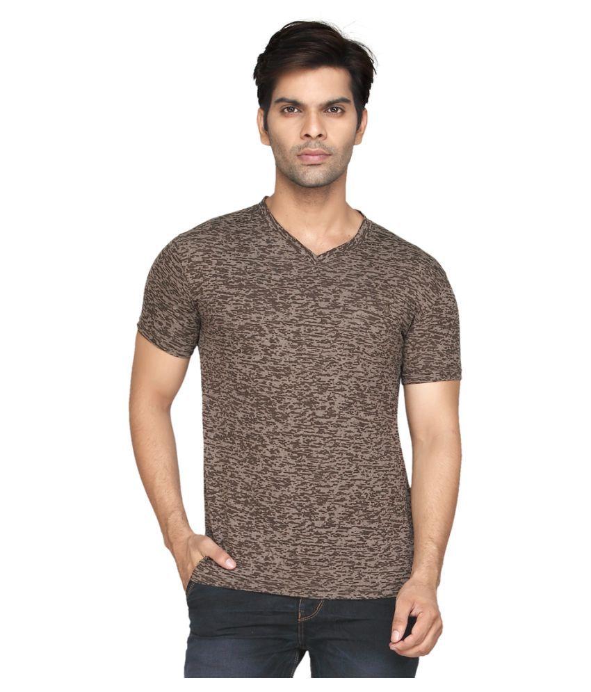 Kkoir Brown V-Neck T-Shirt