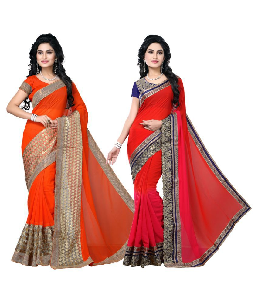 TheMorris Multicoloured Georgette Saree Combos