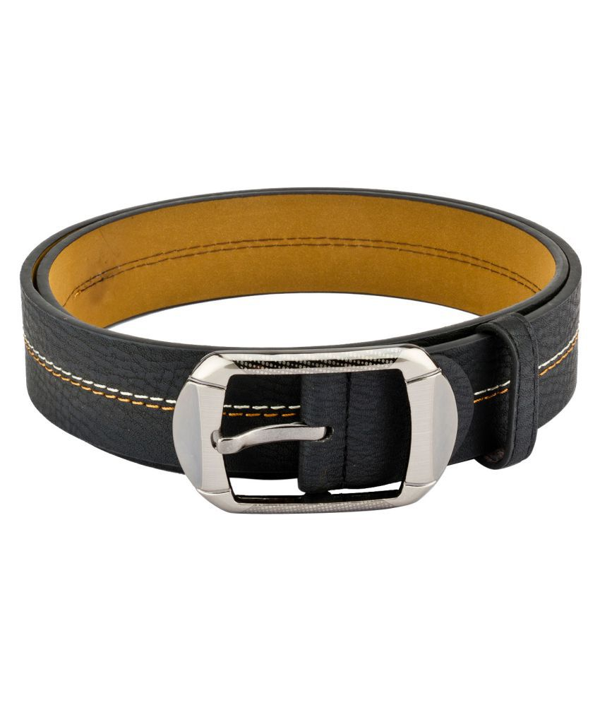 Mango People Black Leather Casual Belts