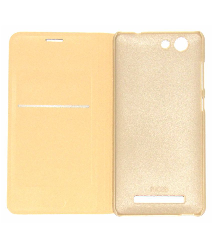 check out 6adc9 f3a4c Gionee F103 Pro Flip Cover by Faltu - Golden