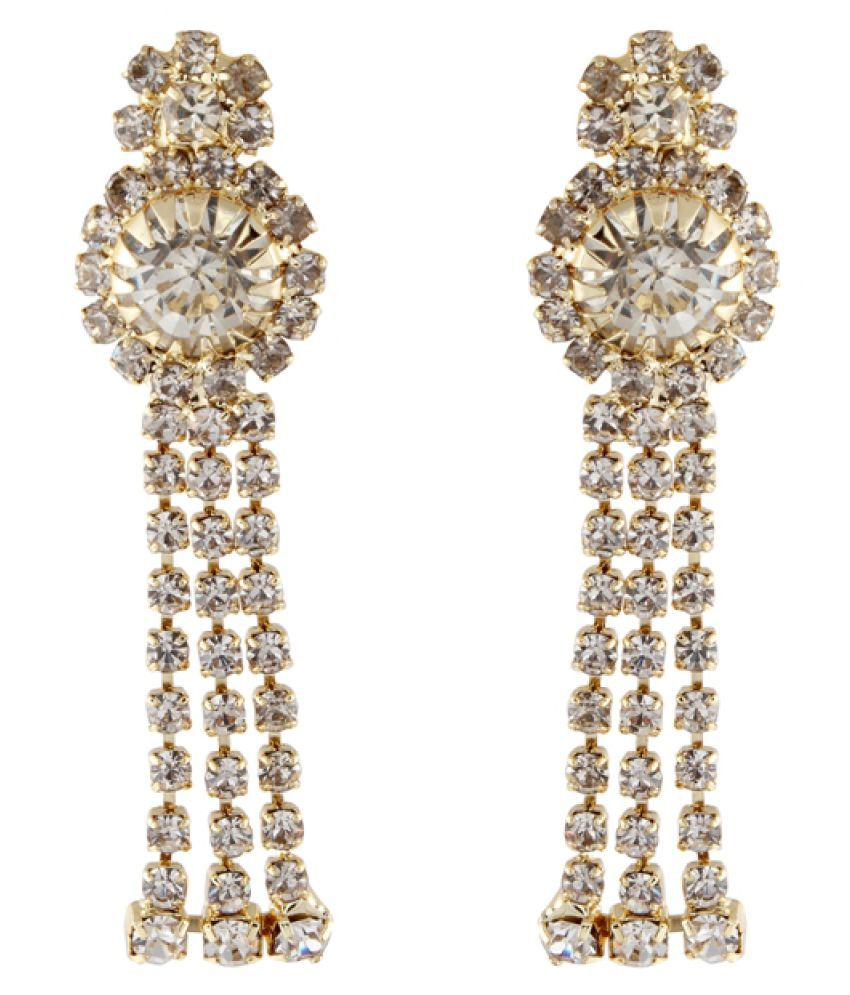 9Blings Cubiz Zirconia Studded Golden Earring