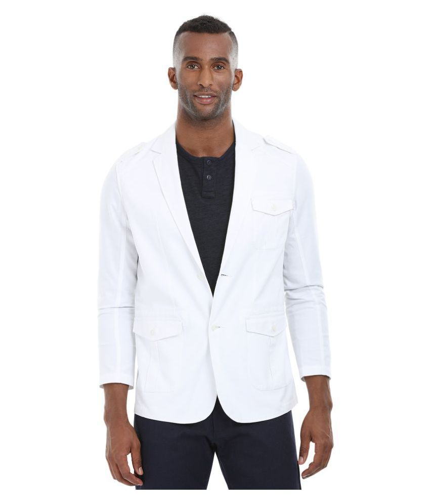 Zobello White Solid Casual Blazers