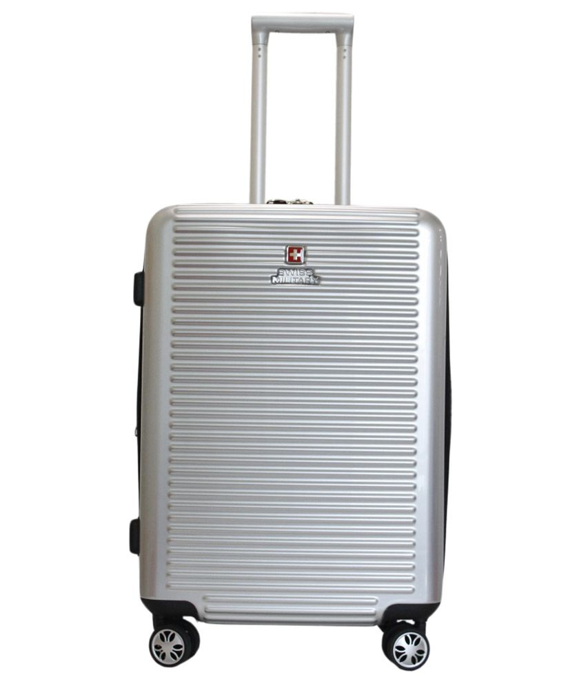 Swiss Military Large  70 Cm  amp; Above  4 Wheel Hard Silver HTL11   COMET 28 INCH TROLLEY BAG Luggage Trolley
