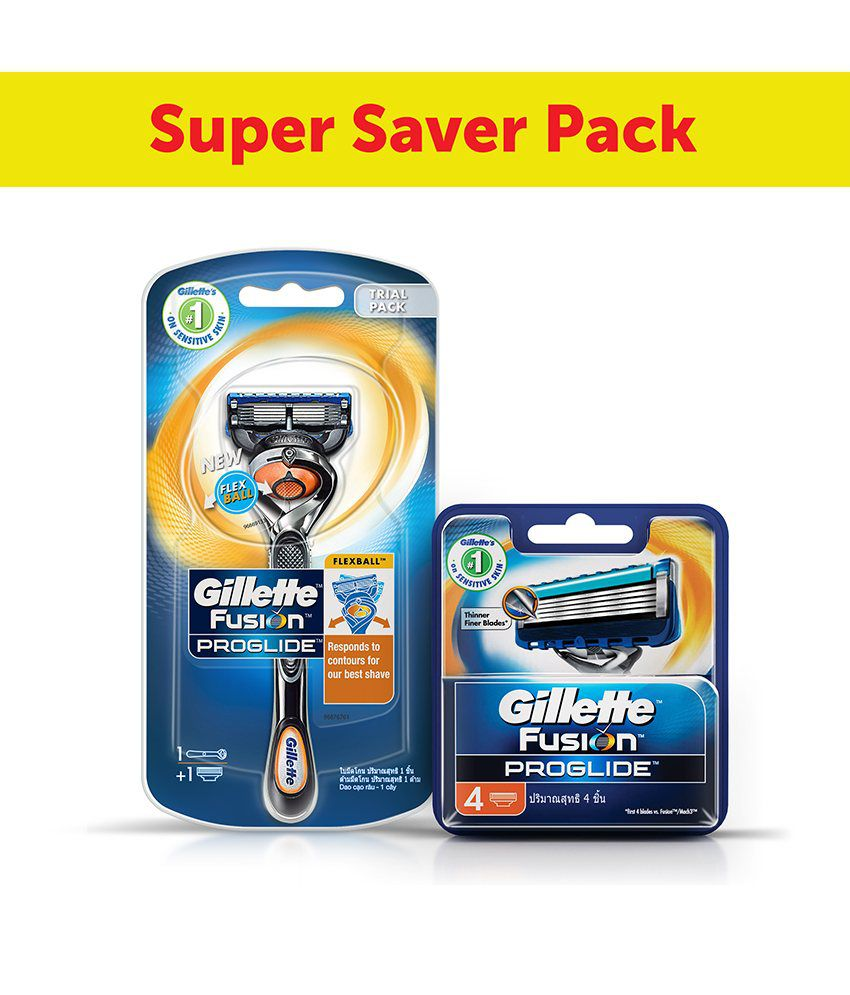 Gillette Fusion Flexball ProGlide Razor with 4 Flexball Blades combo By Snapdeal @ Rs.899
