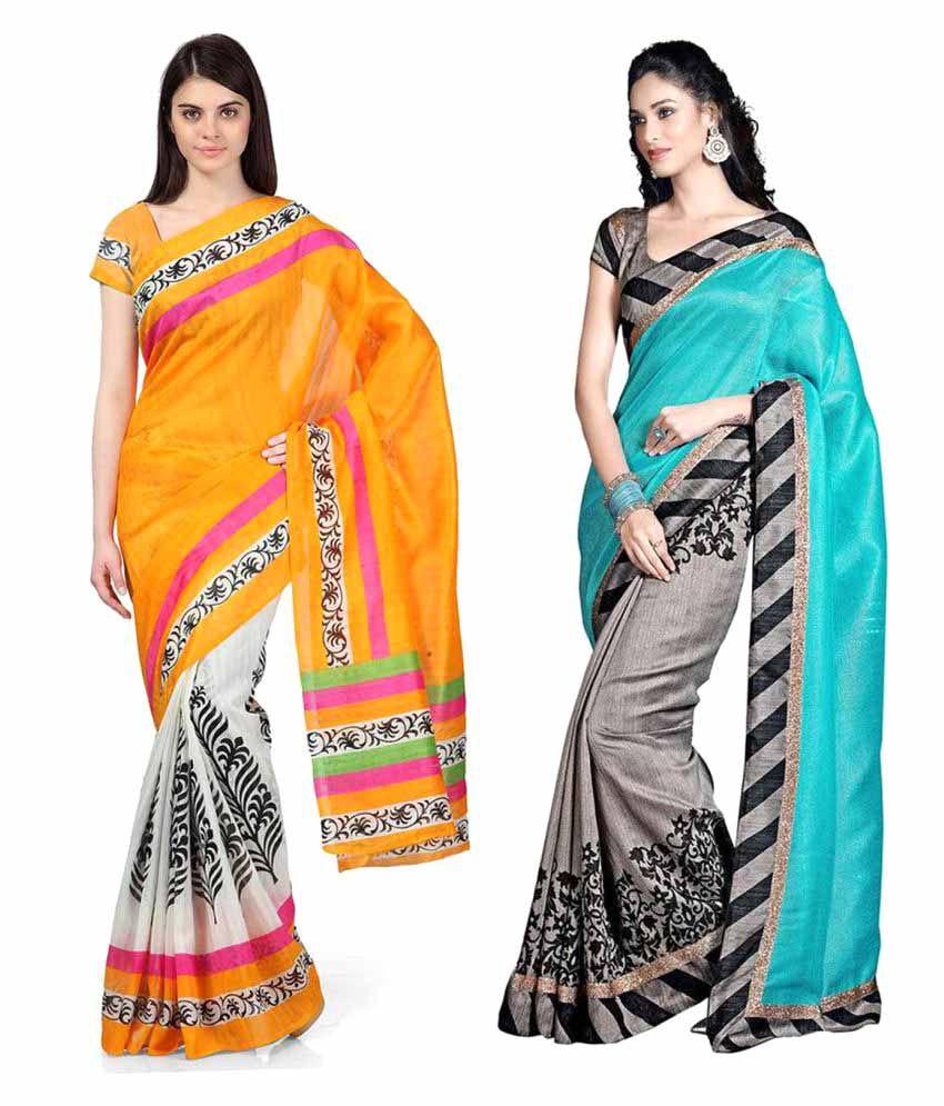 Mahesh Traders Multicoloured Bhagalpuri Silk Saree Combos