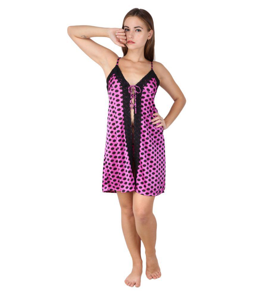RJ Pink Satin Nighty & Night Gowns