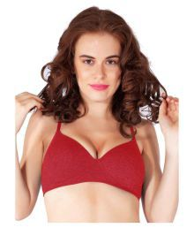 Liberti World Red Cotton Lycra T-Shirt/ Seamless Bra