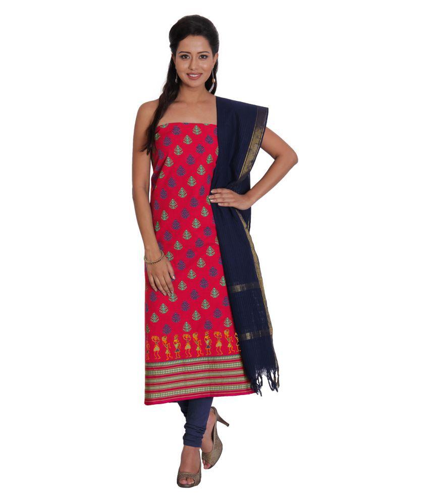 Pratami Multicoloured Cotton Dress Material