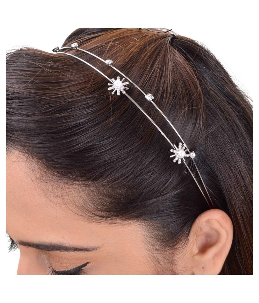 Hair accessories for wedding online india -  Aaishwarya Silver Party Hair Band Hair Accessories