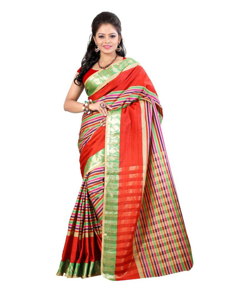 Needle Impression Multicoloured Art Silk Saree