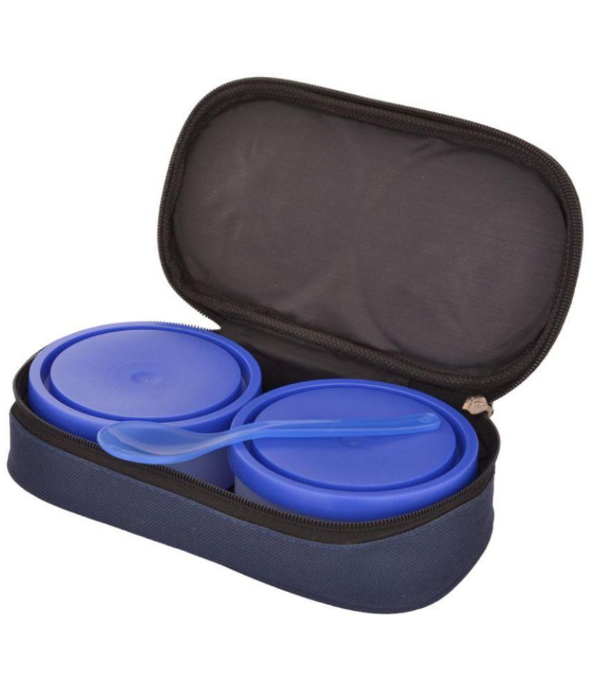 Foody Polypropylene (PP) Lunch Box Set, 500 ml, Blue, 4-Pieces (100% leak  proof, food grade, microwave safe)