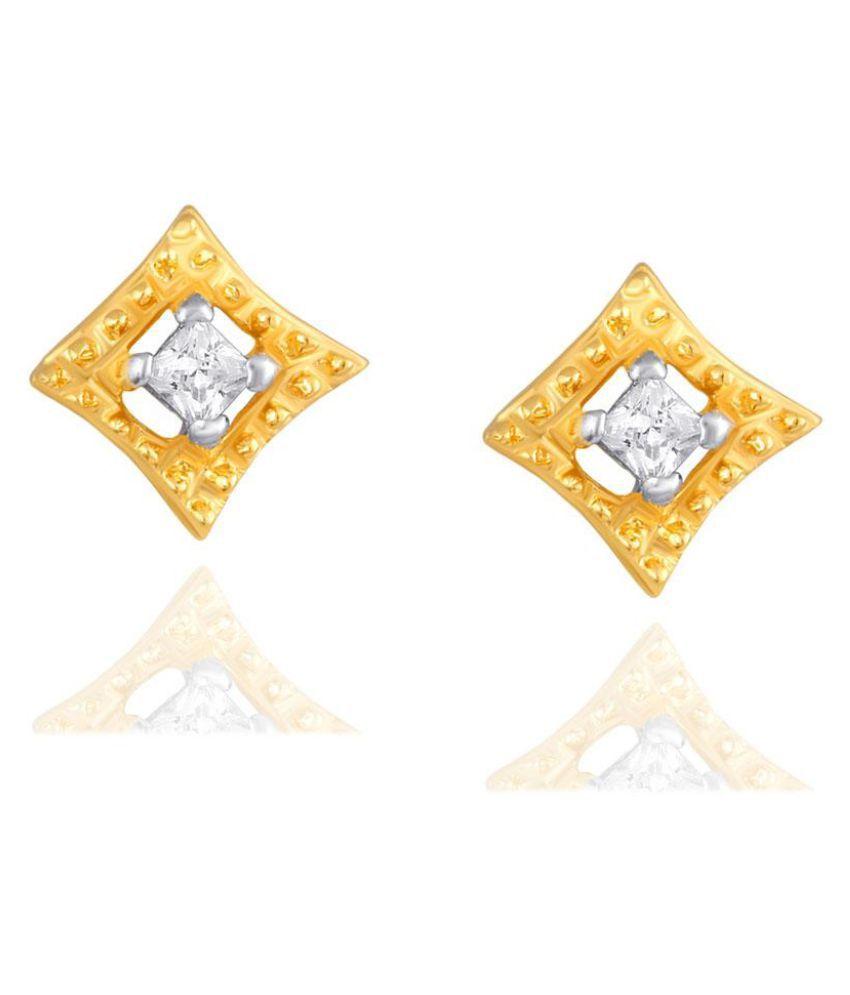 GDivas 18k BIS Hallmarked Yellow Gold Diamond Studs