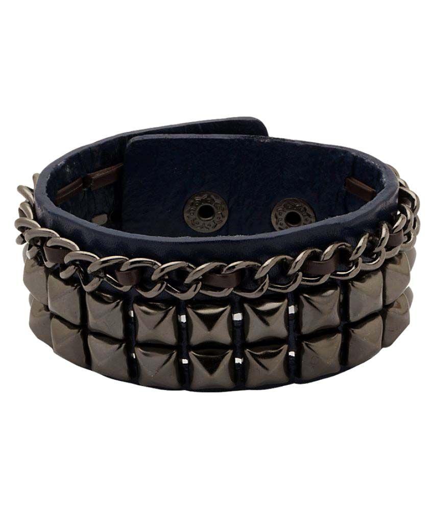 Blue PU Leather Studded Bracelet for Men