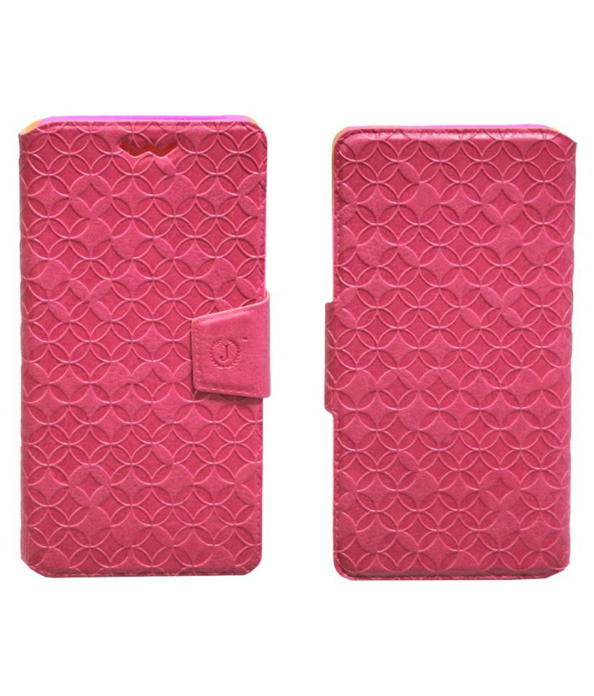 Micromax Canvas 2 Plus A110Q Flip Cover by Jojo - Pink