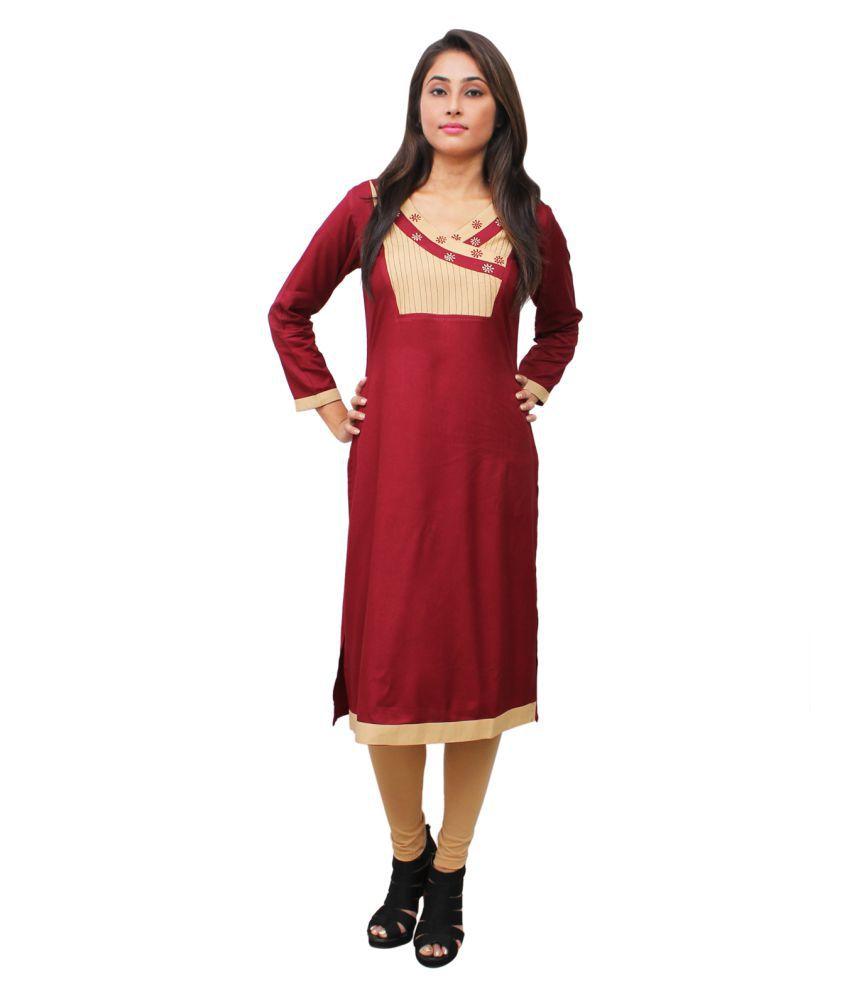 Sritika Maroon Rayon Straight Kurti