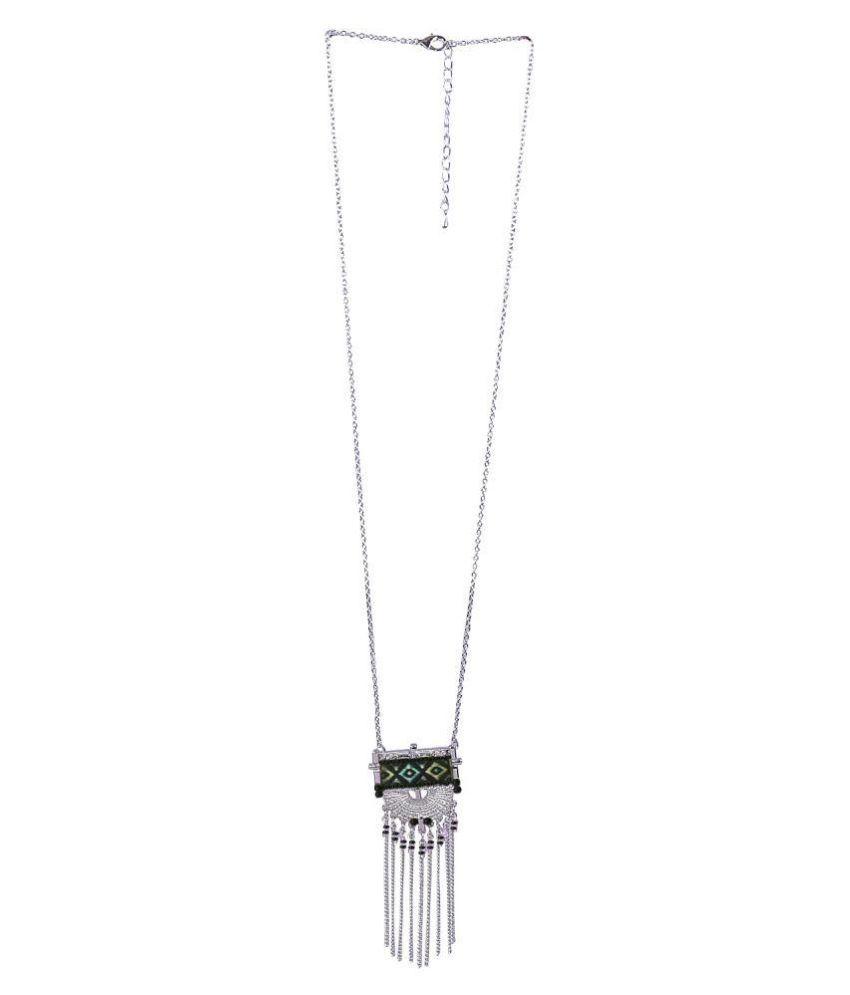 Aaishwarya Boho Styled Silver Long Chain Necklace