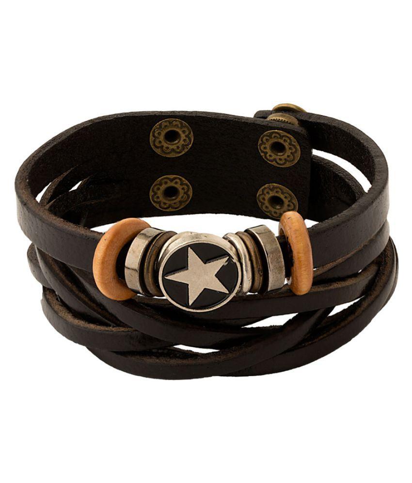 Voylla Black Leather and Alloy Bracelet for Men