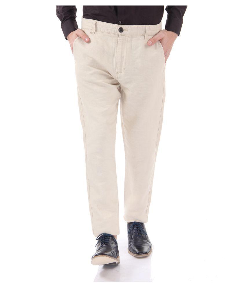 Selected Beige Slim Flat Trouser