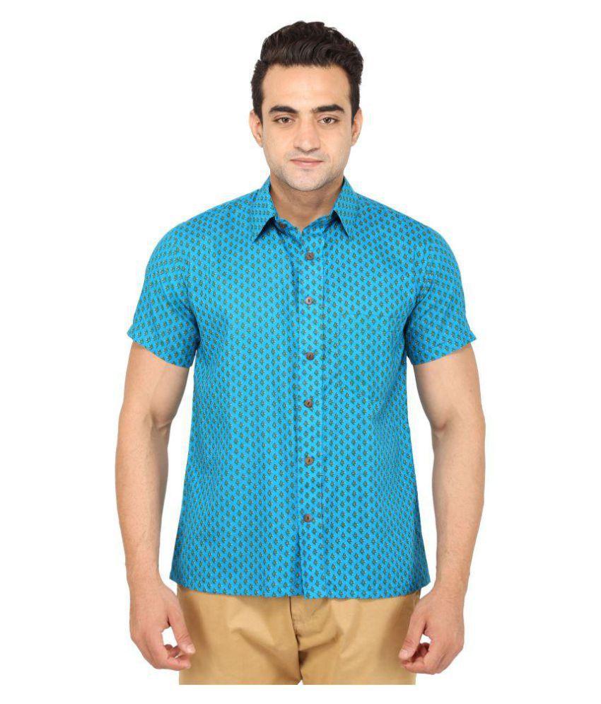Bannasa Blue Casuals Regular Fit Shirt