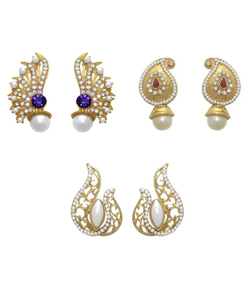 LA TRENDZ Floral Stone Earring Combo set of 3