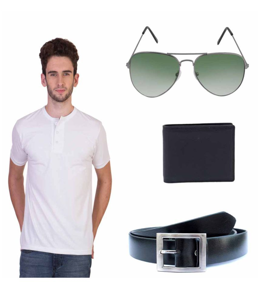 Knightly Fashion White Henley T-Shirt with Wallet, Belt and Sunglasses
